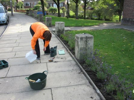 Aug 15: Suzie tidying up after us!
