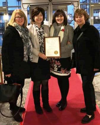 Michelle Price, Leah Fraser, Suzi Broster and Val Hemingway at the Britain in Bloom Awards at Southport Theatre